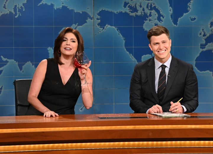 """Cecily Strong as Jeanine Pirro and anchor Colin Jost during """"Weekend Update."""""""