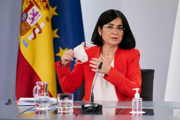 La ministra de Sanidad, Carolina Darias, en una rueda de