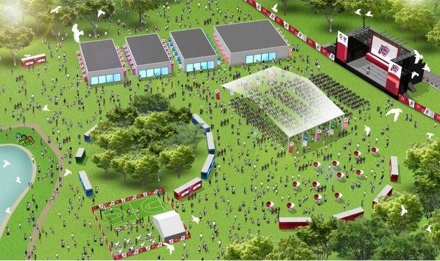 元々の計画案に掲載されていた代々木公園のライブサイト会場の図。人数制限をするなどの観戦対策をとって実施する予定だという