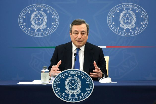 The Italian Premier Mario Draghi during the press conference after the minister's cabinet. Rome (Italy),...