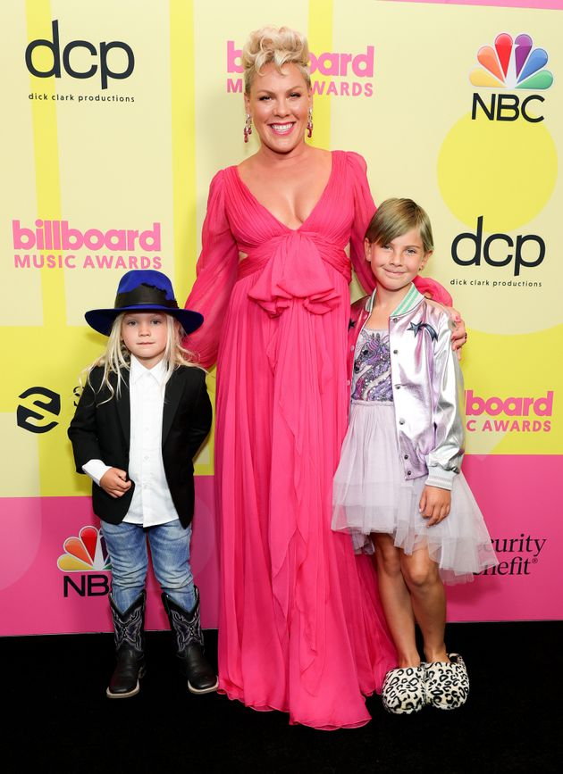 Pink and her two children, Jameson Moon Hart and Willow Sage Hart, pose backstage for the 2021 Billboard...