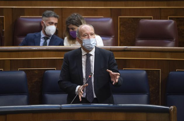 El ministro de Justicia, Juan Carlos Campo, en una sesión plenaria en el Congreso de los Diputados.