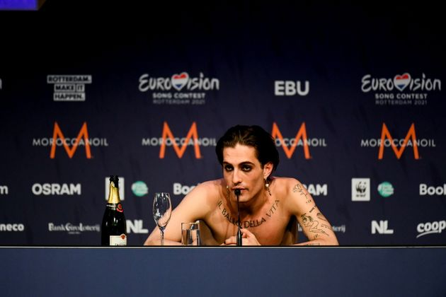 Damiano David, le chanteur de Maneskin, lors de l'Eurovision