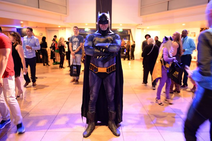 DC fans at the Batman Experience exhibit at Comic Con Museum on July 17, 2019, in San Diego. This guy probably has high self-esteem.