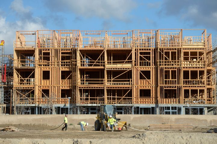 Construction underway at an apartment complex along Katella Avenue in Anaheim, California.