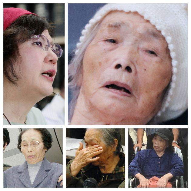 大崎事件の冤罪を訴える原口アヤ子さん(右上、2019年)と鴨志田祐美弁護士(左上)。下3枚は再審請求が棄却されてもその度に請求し続ける原口アヤ子さん(左から2004年、2006年、2015年)