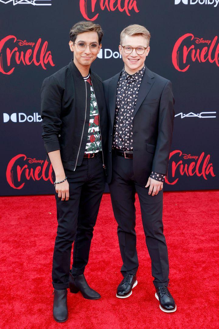 """Rodriguez (left) and Serafini attend the premiere of Disney's """"Cruella"""" in Los Angeles."""