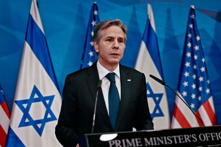 Secretary of State Anthony Blinken speaks during a joint press conference with Israel's prime minister in Jerusalem on May 25