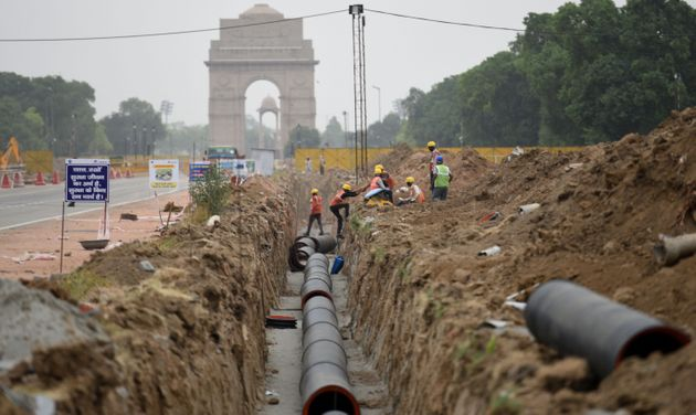 NEW DELHI, INDIA - MAY 6: Rajpath dug up as part of construction work in the Central Vista Redevelopment...