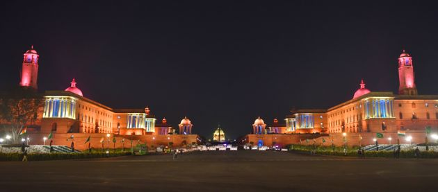 NEW DELHI, INDIA - JANUARY 23: A view of illuminated Rashtrapati Bhawan along with North and South block...
