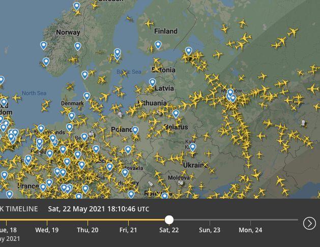 Capture d'écran du trafic aérien le 22 mai