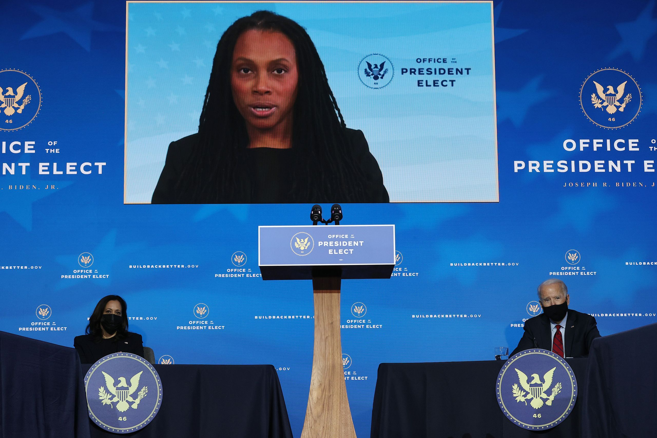 Marcella Nunez-Smith, who chairs the White House COVID-19 equity task force, speaks at a news conference during the president