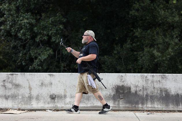 Photo d'illustration de Greg Holland, membre d'une organisation pro-armes, prise à Houston au Texas en