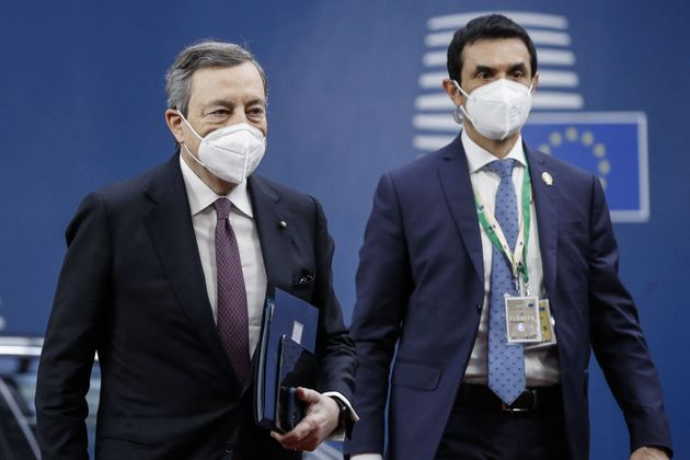 Italian Prime Minister Mario Draghi arrives for the second day of the EU summit at the European Council...