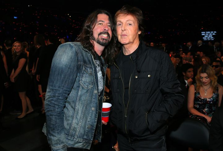 Dave Grohl and Paul McCartney at The 57th Annual Grammy Awards in 2015.