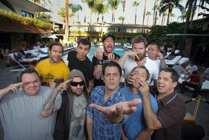 "Jackass cast, clockwise from top left: Chris Pontius, Steve-O, Ehren McGhehey, Ryan Dunn, Jason ""Wee Man"" Acuna, Jeff Tremain"