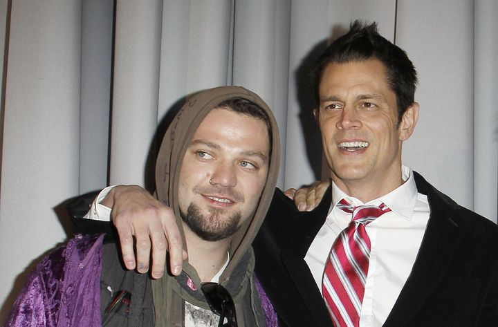 """Bam Margera and Johnny Knoxville at the Berlin premiere of """"Jackass 3D."""""""