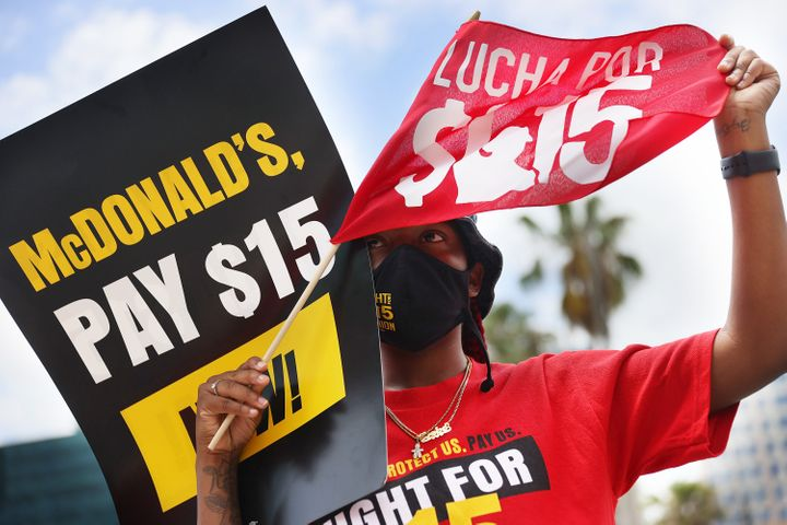 FORT LAUDERDALE, FLORIDA - MAY 19: Shantrell Jackson joins with McDonald's workers and labor activists to protest against the