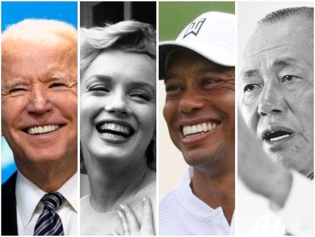 吃音症とされる著名人たち。(敬称略、左から)ジョー・バイデン、マリリン・モンロー、タイガー・ウッズ、田中角栄