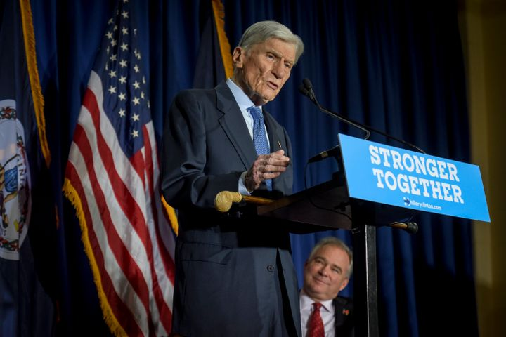 Former GOP Sen. John Warner supported Democrats Hillary Clinton and Tim Kaine for president and vice president in the 2016 election. (Photo by Jahi Chikwendiu/The Washington Post via Getty Images)