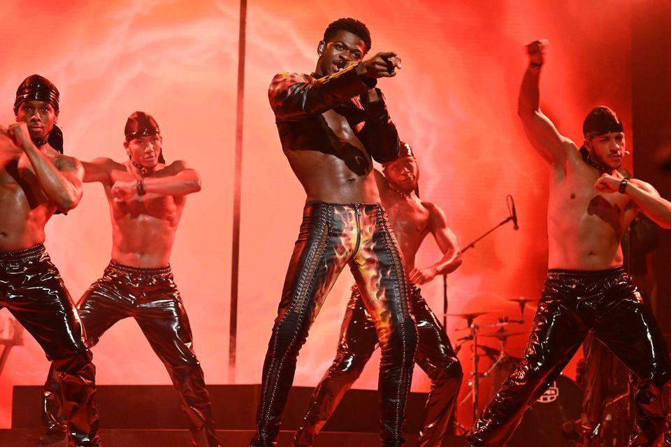 Lil Nas X performing on Saturday Night