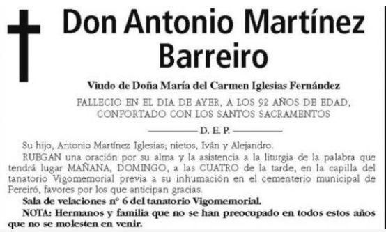 La esquela publicada en 'El Faro de