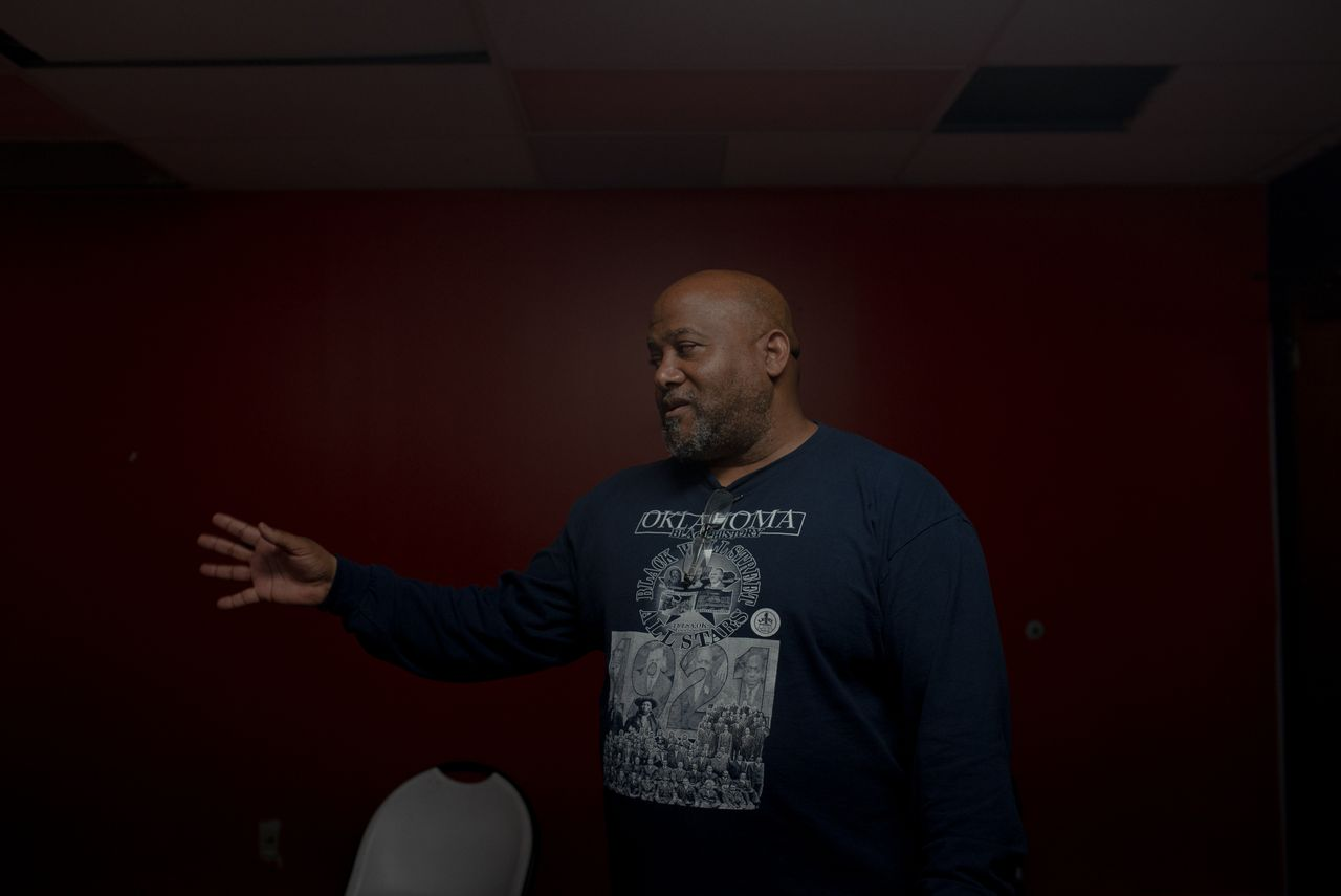 Cleo Harris started selling his shirts in the streets. In 2020, he opened Black Wall Street Tees and Souvenirs on Greenwood Avenue and makes it a point to circulate his dollars among Black businesses.