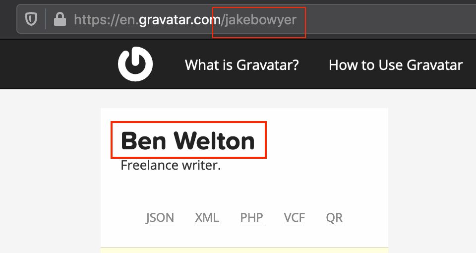 A screenshot from Gravatar showing a connection between Benjamin Welton and one of his pen names, Jake Bowyer.