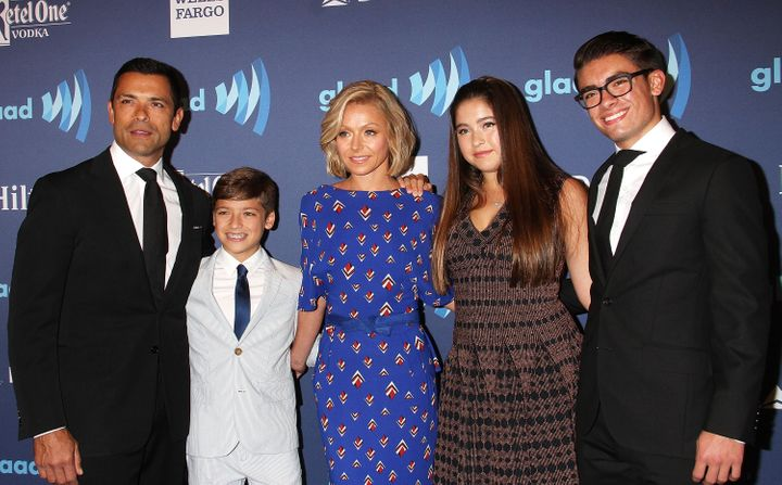 Mark Consuelos, left, Joaquin, Kelly Ripa, Lola and Michael at a 2015 GLAAD event.