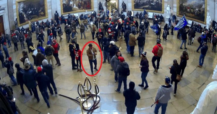 Weibling appears in the red circle in this image from surveillance video recorded inside the Capitol Rotunda on Jan. 6, accor