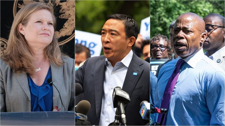 From left to right: Kathryn Garcia, Andrew Yang and Eric Adams, top contenders for the Democratic nomination for New York Cit