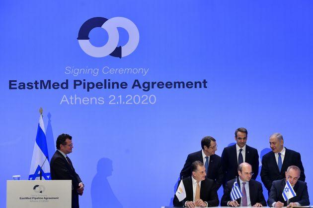 02/01/2020- Τελετή υπογραφής διακρατικής συμφωνίας για τον αγωγό EAST MED μεταξύ Ελλάδας Κύπρου και