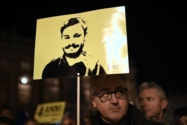 Activists of human rights organization Amnesty International (AI) take part in a demonstration in Piazza...