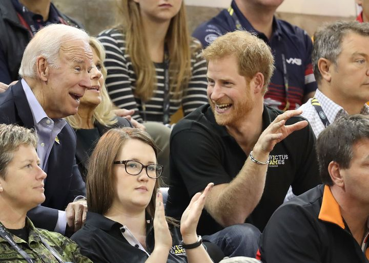 Prince Harry and the Bidens at a U.S.-Netherlands matchup in the Wheelchair Basketball Finals during the Invictus Games 2017