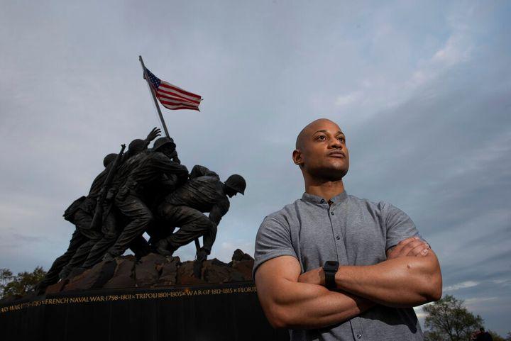 Reserve Marine Maj. Tyrone Collier visits the U.S. Marine Corps War Memorial near his home in Arlington, Va., on Saturday, Ap