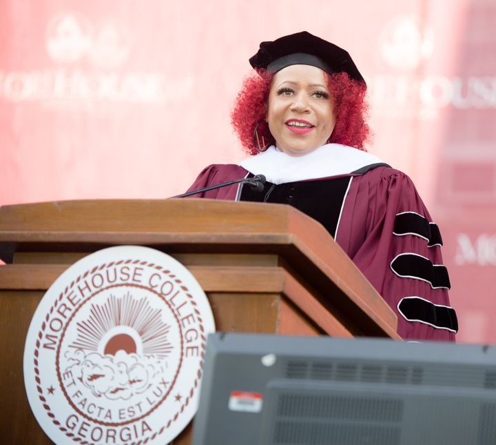 Author Nikole Hannah-Jones speaks May 16 at commencement at Morehouse College in Atlanta.