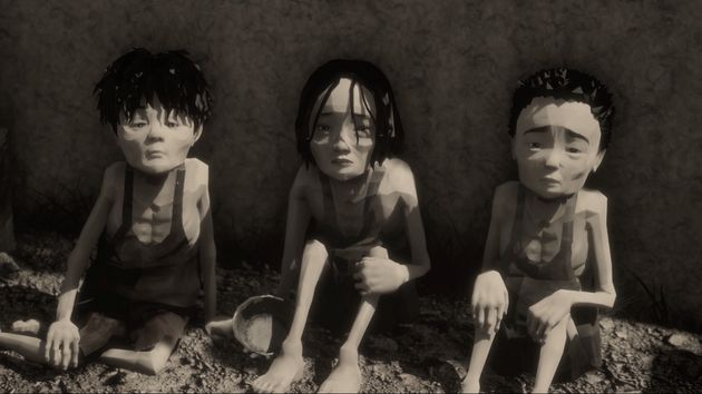 映画のワンシーン。収容所の中の痩せこけた子供たち