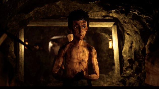 炭鉱の中で働く主人公。歌を歌おうと提案する