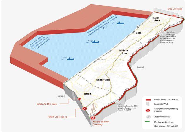 Mapa del bloqueo de Gaza, con los pasos