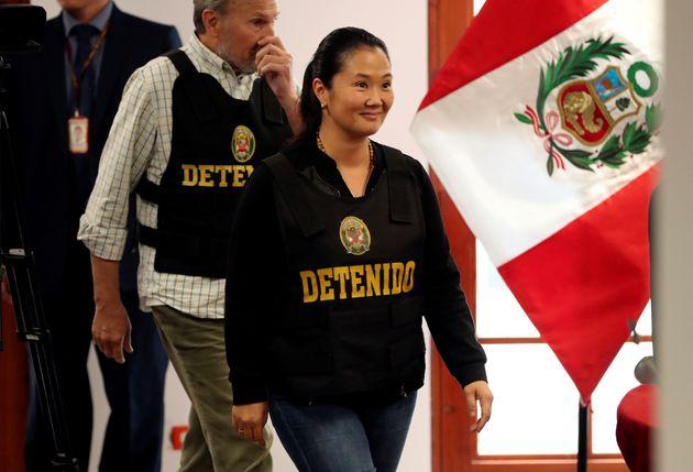Keiko Fujimori, detenida como parte de la investigación contra el lavado de dinero. En Lima, el...