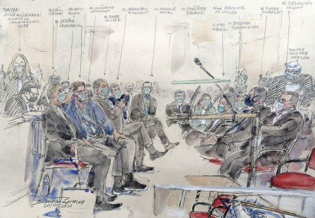 Une première semaine de grand déballage au procès Bygmalion (dessin réalisé...
