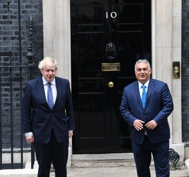 Prime Minister Boris Johnson welcomes the Prime Minister of Hungary, Viktor Orban, into 10 Downing Street,...