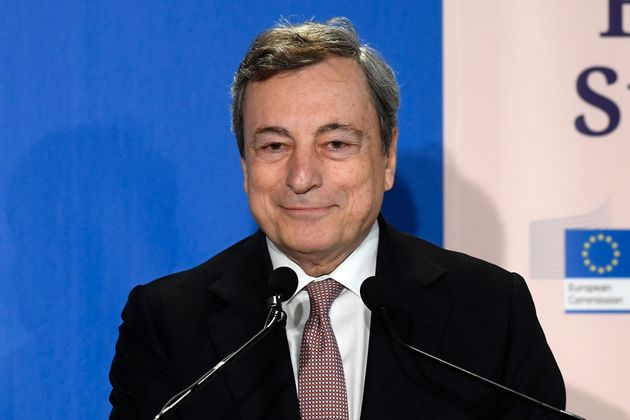 The Italian premier Mario Draghi during the press conference after the Global Health Summit that took...