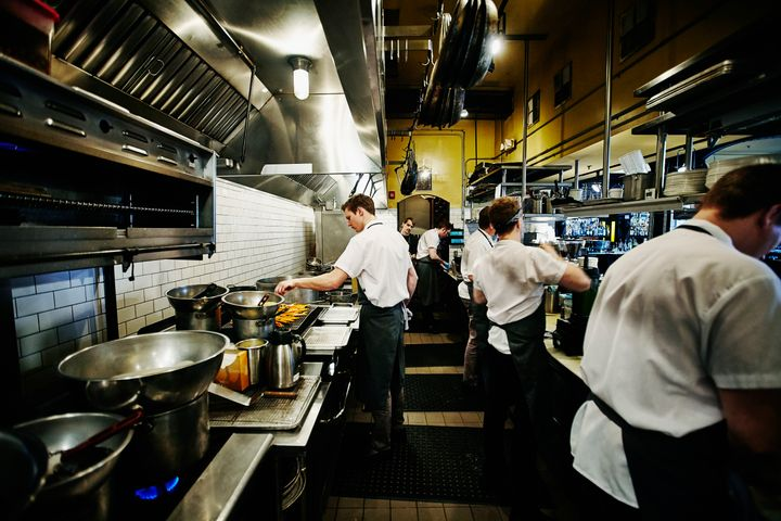 Restaurant kitchens are loaded with ceiling ventilation to keep smoke and aromas under control.