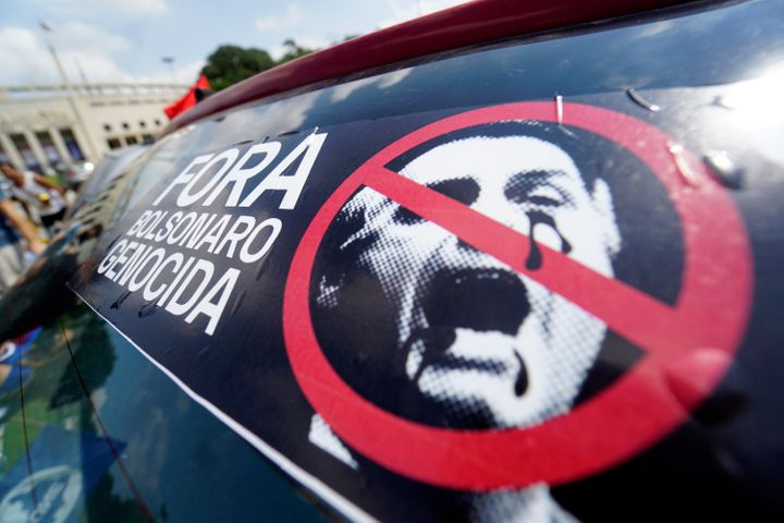 Protesters called for the impeachment of Brazil's far-right President Jair Bolsonaro in February, when the country's COVID-19