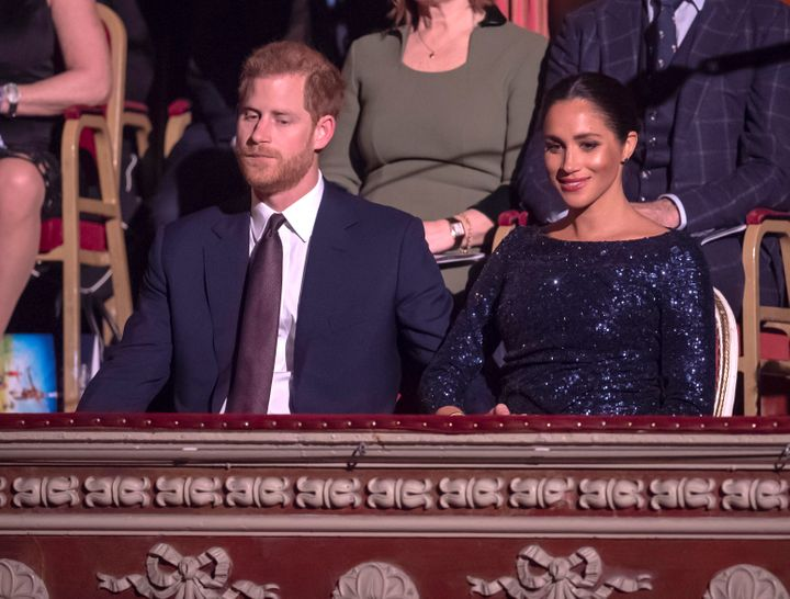 """The Duke and Duchess of Sussex pictured at the Cirque du Soleil premiere of """"Totem"""" at the Royal Albert Hall on Jan. 16, 2019, in London. Before the event, Meghan told Harry that she was experiencing suicidal ideation."""