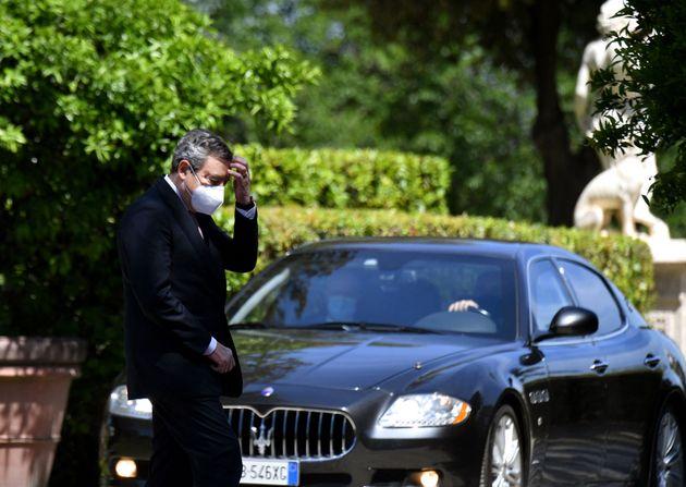 Italian Prime Minister Mario Draghi arrives for the Global Health Summit at the Villa Doria Pamphili...