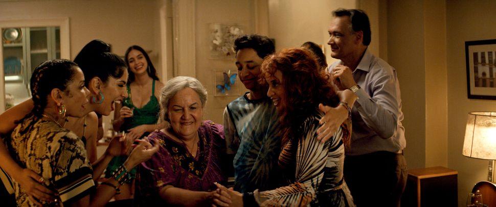 Daphne Rubin-Vega as Daniela (from left), Stephanie Beatriz as Carla, Melissa Barrera as Vanessa, Olga Merediz as Abuela Clau