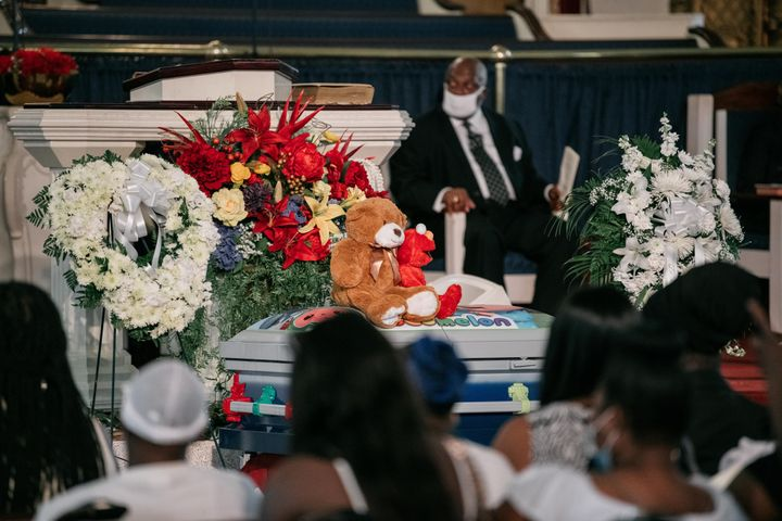 Stuffed toys sit atop the casket of Davell Gardner Jr. at the 1-year-old's funeral on July 27, 2020. Davell's murder embodies