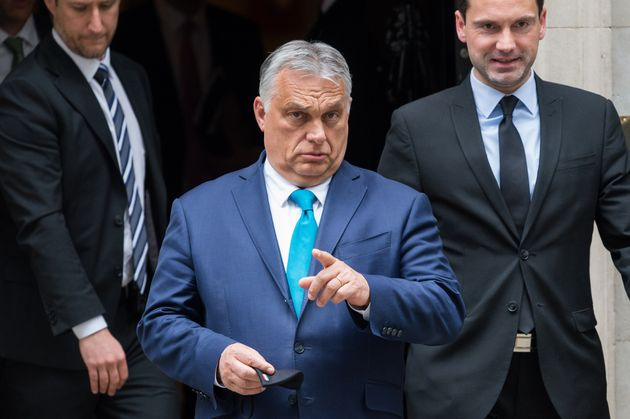 LONDON, UNITED KINGDOM - MAY 28, 2021: Hungarian Prime Minister Viktor Orban (C) leaves 10 Downing Street...